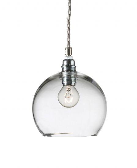 Ebb&Flow - Rowan pendel, Klar m. Sølv/Sølv wire, Ø15,5