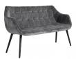 Nordal - Sofabenk i grå fløyel - Svarte ben