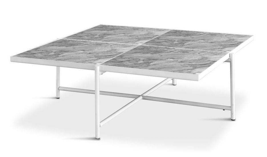 HANDVÄRK - Sofabord 92x92 m. hvid ramme - Grå marmor
