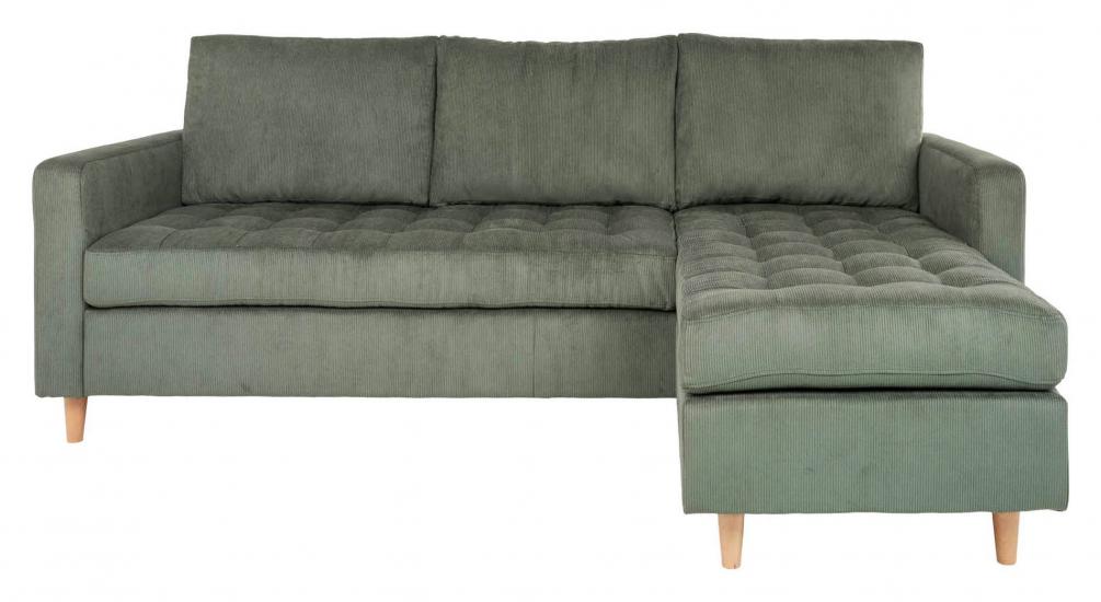 Firenze Sofa m, Flyttbar Sjeselong - Grønn Fløyel