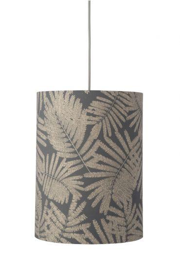 Ebb&Flow - Lampeskjerm, fern leaves wild, grå glitter, Ø30