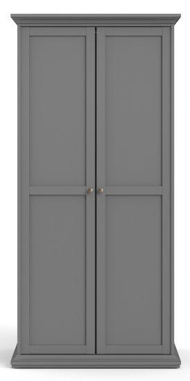 Paris Garderobeskap m. 2 dører - Mat grå