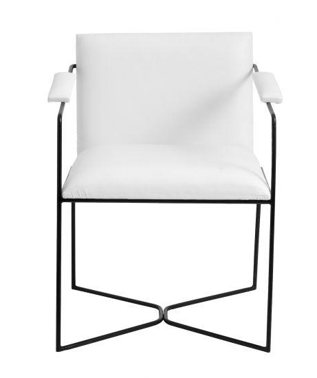 Nordal White Spisebordstol m. armlen - Hvit Kunstlær